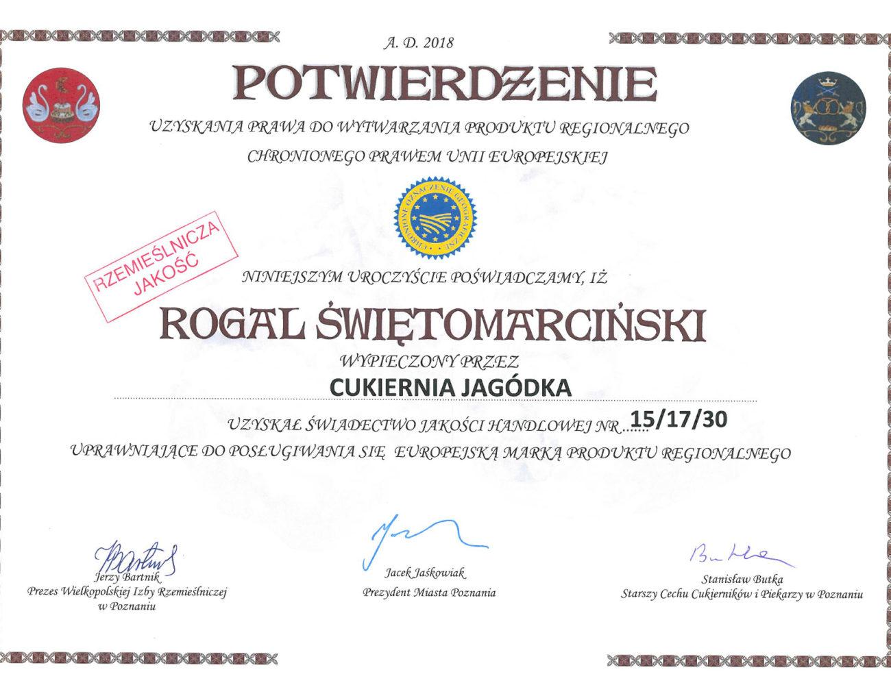 certyfikat 2018 poziomie