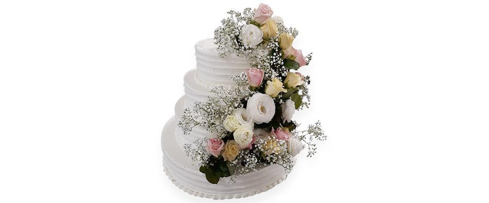 tort weselny z żywymi kwiatami