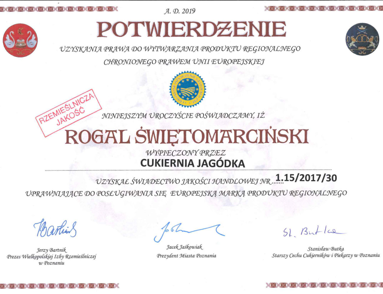 Certyfikat Rogale 2019-01